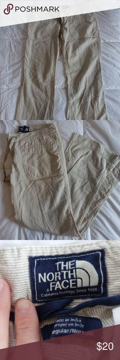 """Khakis Want that perfect hiker vibe without sacrificing comfort or style? Look no further! These flare leg linen slacks from The North Face provide equal parts comfort and style! The lightweight fabric paired with a combination button/drawstring enclosure exudes an effortless simplicity often ignored by major backcountry clothing brands. Functional and on-trend, these worn-once pants will be the ultimate go-to for your next autumn day-hike! Happy trails, y'all! Inseam is 31"""" The North Face…"""