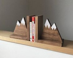 Mountain Peak Bookends, Stained Wooden Bookends, Nursery Decor, Kids Mountain Decor, Bookends for kids
