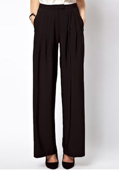 Black Low Waist Button Fly Flax Blend Pants