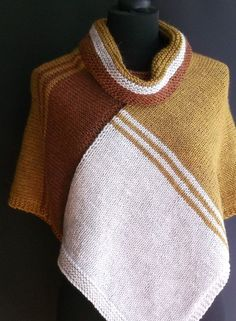 Free Knitting Pattern for Cascade Topper Poncho - Love the color blocking in this poncho that is knit as two rectangles that are sewn together with stitches picked up for the color. Designed by Brian Smith