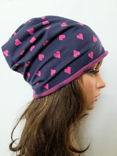 Spring cotton hearts hat Girls slouchy beanies women by Jousilook