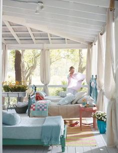 porch or patio decorating to add another room instantly, home decor, outdoor furniture, outdoor living, patio Outdoor Rooms, Outdoor Living, Indoor Outdoor, Cabin Porches, Screened Porches, Sleeping Porch, White Bedroom, Porch Decorating, Decorating Ideas