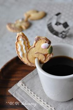 Cute idea for your morning coffee/hot cocoa, any type of cookie cutter can be used and modify with a little cut in the pastry