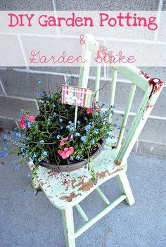 DIY::  Garden Potting & Personalized Garden Stake !!! Great Tutorial by @Emily Benson {The Benson Street}