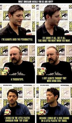 "I just love how Jensen and Ben say normal dinosaur names and then Misha is like, ""I want to be the plastic toy dinosaur in Toy Story!"" JUST LOVE MISHA COLLINS!!!!"