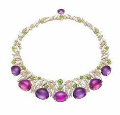 Bulgari amethyst, diamond and peridot necklace.