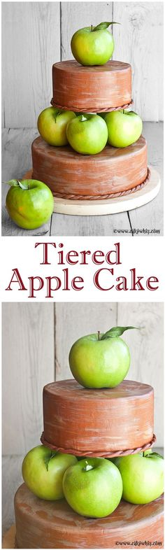 TIERED APPLE CALE with mini tutorial. Perfect for Fall/Autumn time or even Thanksgiving weddings and parties! From cakewhiz.com