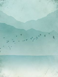 Abstract Landscape Minimal Bird Print in Blue Grey - Mountains, Ocean, Flock of birds