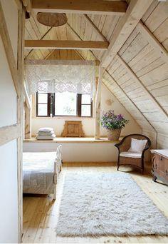 Romantic Wooden Cottage - bedroom - photos : adorable-home A Frame Cabin, A Frame House, Attic Renovation, Attic Remodel, Home Design, Interior Design, Attic Design, Design Ideas, Wooden Cottage