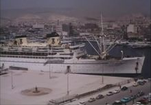 SS Athanai and other vessels in the port of Piraeus, Greece