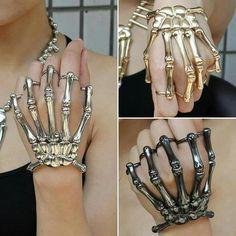 Rad! Emo Jewelry, Grunge Jewelry, Hand Jewelry, Fantasy Jewelry, Cute Jewelry, Jewelery, Jewelry Accessories, Skeleton Hand Bracelet, Skeleton Hands