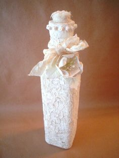 Lace Altered Bottle Shabby Chic French Country Cottage Style Winter White Mixed Media