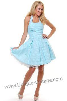 Short Light Blue & White Polka Dot Flirty Cotton Swing Dress