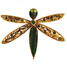 Dragonfly pendant in 18-karat gold with demantoid garnet, chrome diopside, rainbow hematite and pearl by Paula Crevoshay