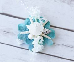 wrist corsage with shells