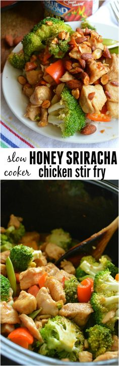 Slow Cooker Honey Sriracha Chicken Stir Fry - Sugar Dish Me