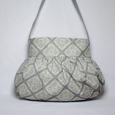 Gathered Bag/Purse (small)- Grey and Cream scroll Fabric