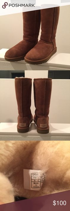"""UGG Classic Tall boots- Chestnut Details: New without box Twinface sheepskin Nylon binding Foam and UGGpure™ wool insole EVA outsole Patent-protected tread design 11 ¾"""" shaft height Imported Other: The suede side of Twinface sheepskin is susceptible to staining and discoloration when exposed to moisture. This product contains real fur from Sheep or Lamb Fur Origin: Australia, UK, Ireland or United States Real Fur has been artificially dyed and treated This product is made in China UGG Shoes…"""