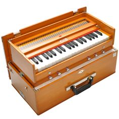 Arts: India is known for being a very festive and musical country. This picture is a picture of an instrument called a harmonium. This instrument looks like a piano but is smaller. Other instruments that people use in India is called dholak, dotar, ektar and many more instruments.