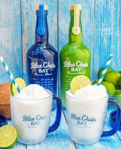 When life hands you limes, you make a Key Lime Colada. This creamy frozen drink recipe is the perfect cocktail for your day at the beach or by the pool. Blend all ingredients together. Pour into a cup rimmed with coconut flakes. Garnish with a lime wheel and a cherry. #bluechairbay #keyllimerumcream #coconutrum #BCBHappyHour Party Drinks, Cocktail Drinks, Fun Drinks, Cocktail Recipes, Cocktails, Rum Recipes, Alcohol Recipes, Key Lime Rum Cream, Summer Drinks