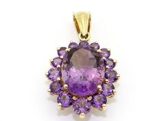 14k Yellow Gold 10ct Oval Cut Round Purple Amethyst Cluster Love Charm Pendant #Pendant