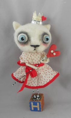 Queen of Hearts Ooak white cat art doll