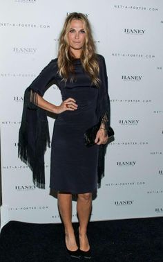 c06a7ce67465 Molly Sims wearing Pedro Garcia Rosette pumps in black satin Molly Sims