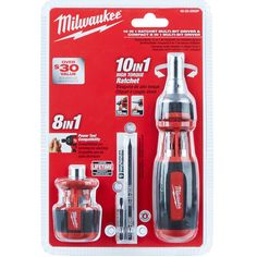 """Milwaukee 10IN1 Ratcheting Multi-Bit Drivers feature 3-1/2"""" power groove bits for power tool compatibility and maximum jobsite versatility. 1x Milwaukee 8-in-1 Compact Ratchet Multi-Bit Driver. 1x Milwaukee 48-22-2302 10IN1 Square Drive Ratcheting Multi Bit Driver. 