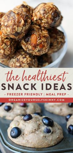 The Healthiest Snack Ideas | Healthy Meal Prep Snacks - Looking for some healthy snacks to keep you satisfied and on track with your weight loss journey all week? A solution that has worked for me is to take time once a month and stock my freezer with my favorite homemade healthy snack recipes! Click to get my favorite, delicious snack recipes that are freezer and meal prep friendly | Organize Yourself Skinny | Healthy Snacks for Kids | Freezer Snacks Make-Ahead #healthysnacks Healthy Homemade Snacks, Healthy Freezer Meals, Savory Snacks, Quick Snacks, Healthy Meals For Kids, Healthy Eating Recipes, Healthy Meal Prep, Healthy Snacks For Kids, Yummy Snacks