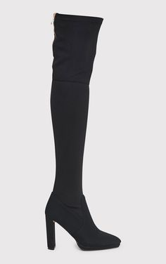 Riyah Black Knitted Pointy Thigh High Sock Boots