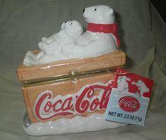 2002 Coca Cola Polar Bears Large PHB Hinged Trinket Box