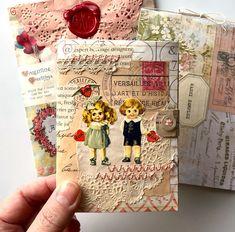 ideas for junk journal Valentines Art, Vintage Valentines, Valentine Day Cards, Vintage Crafts, Vintage Paper, Pink Sheep, Art Postal, Envelope Art, Fabric Journals