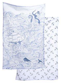 Deep Sea Odyssey Dish Towel Set By Danica Studio Blue Nautical Dishes Towels