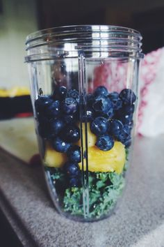 "Summer Juice 1/2 cup Kale 1/2 cup Blueberries 2 Slices of Fresh Pineapple (the width of your nutribullet) Fill ""max"" line with water, almond milk, or coconut water. Add ice to turn the juice into a..."