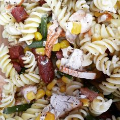 Gluten free pasta with chicken turkey chorizo beans and corn. 3 types of mear  Would you like this for your lunch??