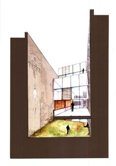 The block of a single colour surrounding the detailed drawing of the space creates the impression of a confined space. Watercolor Architecture, Architecture Drawings, Architecture Details, Perspective Images, Perspective Drawing, Architecture Presentation Board, Presentation Design, Architectural Section, Architectural Sketches