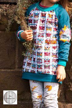 girly longsweater Raglan Pulli Sweater mit Doppelbündchen Halsausschnitt   nähen für Mädchen