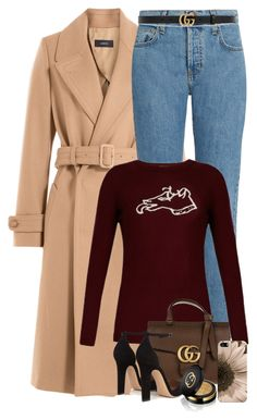 """Camel Coats"" by mish-01 ❤ liked on Polyvore featuring Joseph, Current/Elliott, Bella Freud, Gucci, Gianvito Rossi and Casetify"