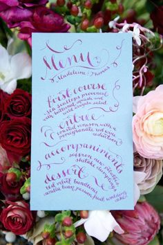 Calligraphy wedding menu   Christa Elyce Photography   #Wedding #WeddingIdeas #WeddingMenus #WeddingStationary #Weddings #MenuIdeas #Menu