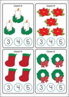 Christmas Math Centers for Kindergarten 87 pages. A page from the unit: Count and Clip Cards.