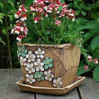 květináče,truhlíky / Zboží prodejce lavender | Fler.cz Hand Built Pottery, Slab Pottery, Pottery Bowls, Pottery Ideas, Ceramic Planters, Planter Pots, Cement Flower Pots, Concrete Pots, Sgraffito