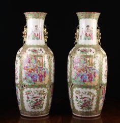 Par de vasos em porcelana Chinesa de Cantao do sec.19th, 66cm de altura, 12,195 USD / 10,900 EUROS / 50,370 REAIS / 74,850 CHINESE YUAN soulcariocantiques.tictail.com