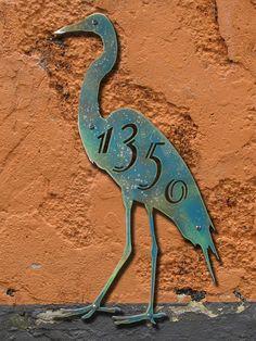 CUSTOM Tropical Bird House Number Sign by ModaIndustria on Etsy