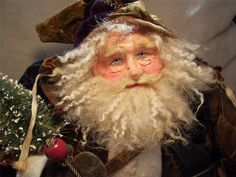 Handmade  Santa Dressed in Antique Velvet Crazy Quilt Suit By Kim Sweet~Kim's Klaus