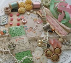 Found in her sewing basket. Victorian lace, saved trims, lovely old buttons, rhinestone orphans and saved trinkets.