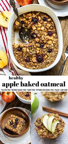 This Apple Baked Oatmeal is an easy and healthy make-ahead breakfast made with cozy spices and chopped apples and is so perfect for fall. Apple Cinnamon Baked Oatmeal is a healthy breakfast recipe made in just one bowl with gluten-free rolled oats and pure maple syrup, ground cinnamon and allspice. Includes grain-free, paleo and low carb option. Freezer-friendly and works great for meal prep! #applebakedoatmeal #bakedoatmeal #applecinnamon #glutenfree Healthy Make Ahead Breakfast, Gluten Free Recipes For Breakfast, Sweet Breakfast, Brunch Recipes, Breakfast Crockpot, Breakfast Club, Paleo Breakfast, Breakfast Ideas, Dinner Recipes