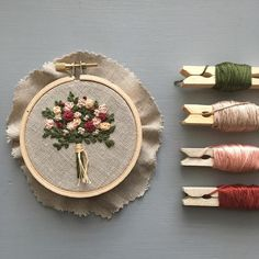 Storing embroidery thread on clothespins - brilliant!
