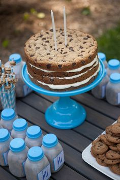 Milk and Cookies Birthday Party - love the mini cookies (cereal) in the milk cartons