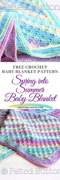 Spring into Summer Baby Blanke Free Crochet Blanket on Ravelry blanket Spring into Summer Baby Blanket - Free Crochet Baby Blanket Pattern Baby Afghan Crochet, Baby Afghans, Crochet Blanket Patterns, Free Crochet, Free Knitting, Ladies Cardigan Knitting Patterns, Baby Toys, Baby Boy Blankets, How To Start Knitting
