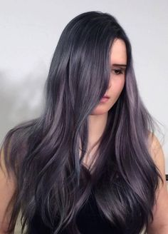 dark gray with purple hair color